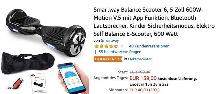 Smartway Balance Scooter 6,5 Zoll 600W - jetzt 7% billiger