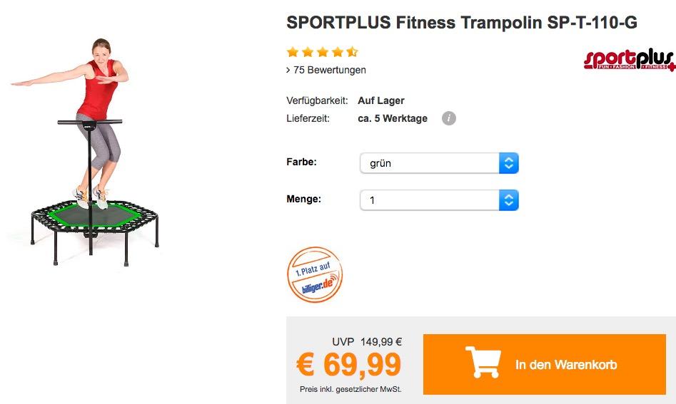 SPORTPLUS Fitness Trampolin SP-T-110 in verschiedenen Farben - jetzt 17% billiger