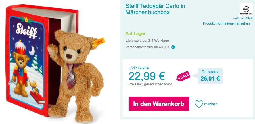 Steiff Teddybär Carlo in Märchenbuchbox - jetzt 19% billiger
