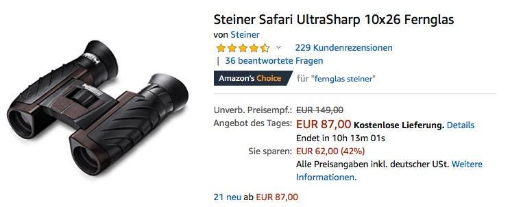 Steiner Safari UltraSharp 10x26 Fernglas - jetzt 20% billiger