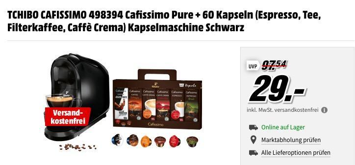 Tchibo Cafissimo Pure Kaffeekapselmaschine inkl. 60 Kapseln (Espresso, Tee, Filterkaffee, Caffè Crema) - jetzt 26% billiger