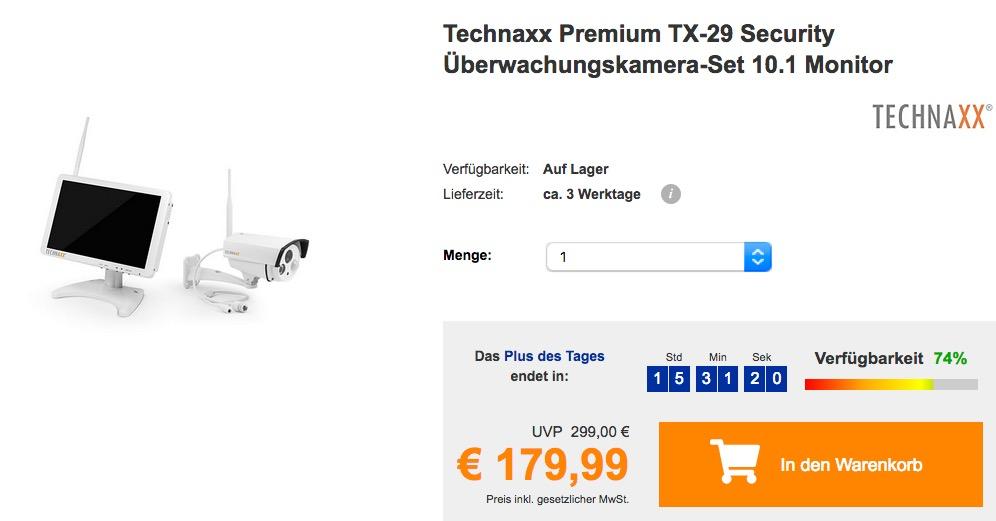 Technaxx Premium TX-29 Security Überwachungskamera-Set (10,1 Zoll Monitor mit Aufnahmefunktion & HD Aussenkamera) - jetzt 18% billiger