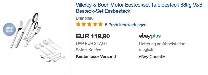 Villeroy & Boch Victor Besteckset 68tlg. - jetzt 29% billiger