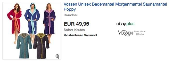 Vossen Unisex Bademantel Morgenmantel Saunamantel Poppy - jetzt 11% billiger