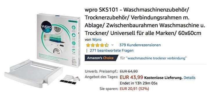 wpro SKS101 - Zwischenbaurahmen Waschmaschine u. Trockner mit Ablage - jetzt 15% billiger