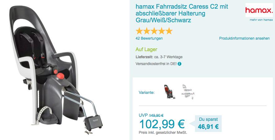 Hamax Fahrradsitz Caress C2 Mit Abschließ Für 10299 13