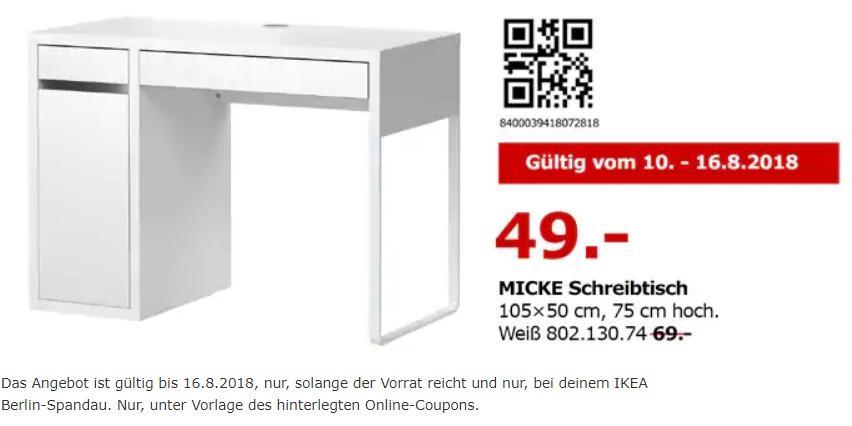 ikea berlin spandau micke schreibtisch f r 49 00 29. Black Bedroom Furniture Sets. Home Design Ideas