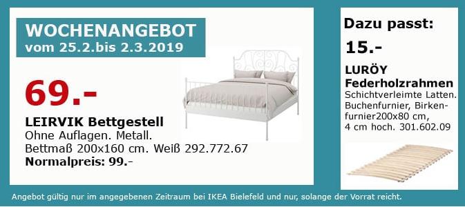 17eb6fab17 IKEA Bielefeld - LEIRVIK Bettgestell, wei... für 69,00€ (-30%)