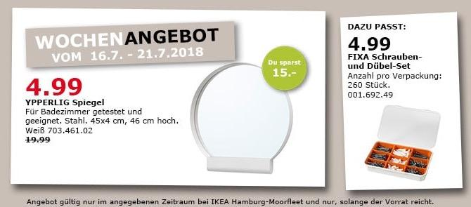 IKEA YPPERLIG Spiegel Ablage Kosmetik Wandspiegel Badspiegel Schminkspiel NEU