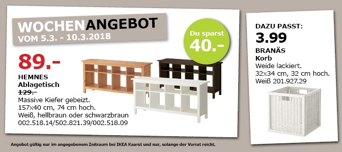 ikea hemnes ablagetisch f r 89 00 31. Black Bedroom Furniture Sets. Home Design Ideas
