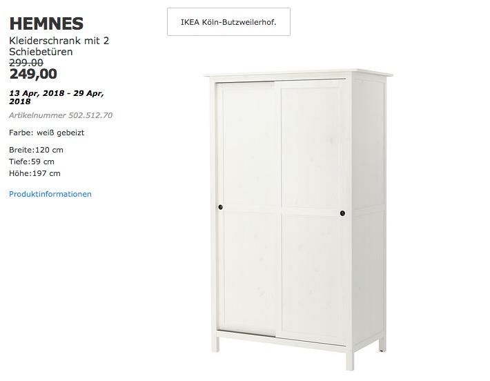 ikea hemnes kleiderschrank mit 2 schiebet f r 249 00 17. Black Bedroom Furniture Sets. Home Design Ideas