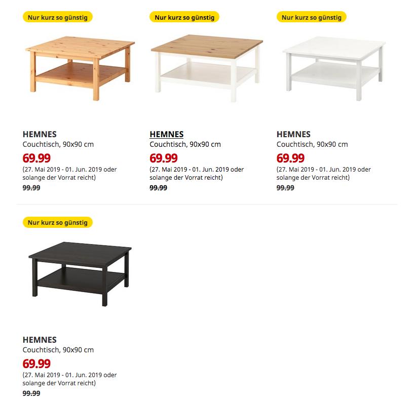 Ikea Kaarst Hemnes Couchtisch 90x90 Cm Fur 69 99 30