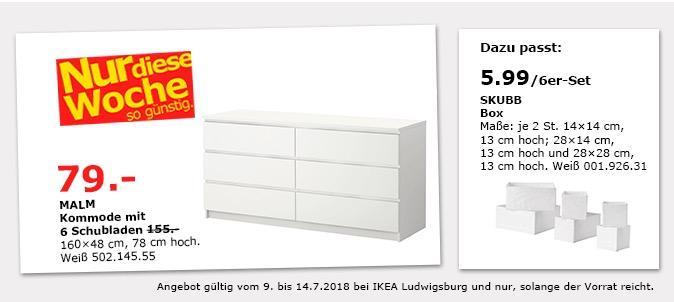 IKEA Ludwigsburg: MALM Kommode mit 6 Schub... für 79,00€ (-49%)