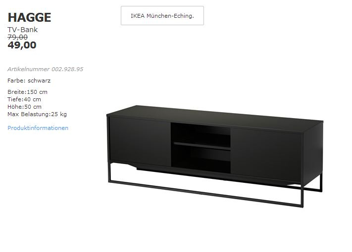 Tv bank schwarz  IKEA HAGGE TV-Bank schwarz, 150x40cm, Höh... für 49,00€ (-38%)