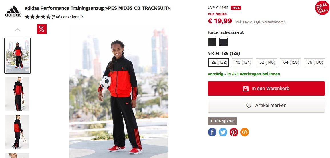 adidas Freizeitanzug schwarzweiß um 11% reduziert online