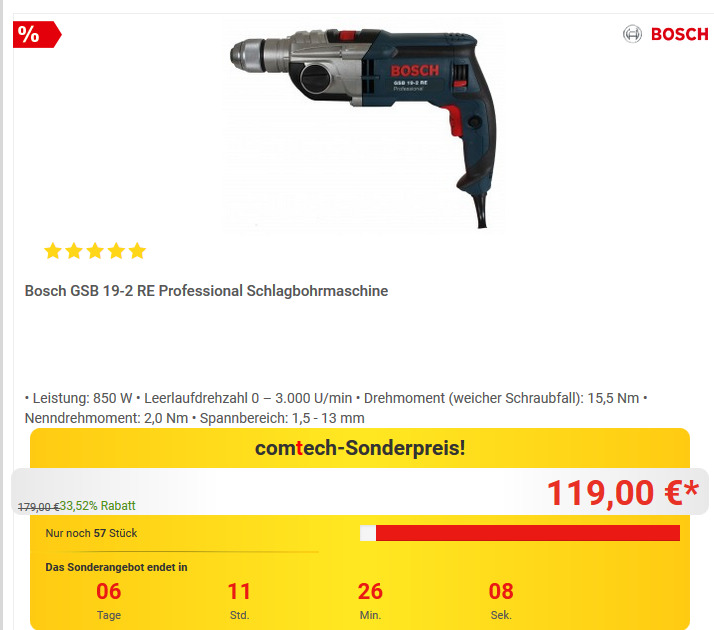 Bosch Professional Gsb 19 2 Re Schlagbohrm Fur 119 00 9