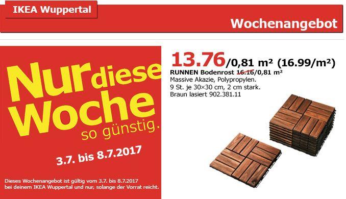 IKEA RUNNEN Bodenrost Aussen Massive Aka Fur 1376EUR 15