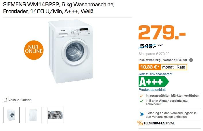 siemens iq100 wm14b222 waschmaschine 6 kg f r 279 00 13. Black Bedroom Furniture Sets. Home Design Ideas