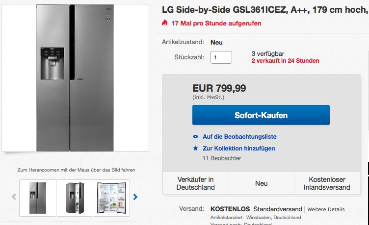 Lg Electronics Gsl 361 Icez Side By Side Für 79999 18