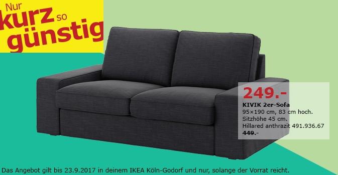 IKEA KIVIK 2er-Sofa, 95x190 cm, 83 cm hoch für 249,00€ (-45%)