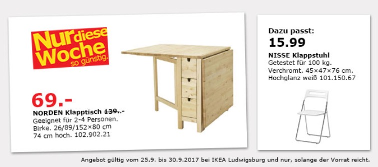 ikea norden klapptisch birke f r 69 00 50. Black Bedroom Furniture Sets. Home Design Ideas