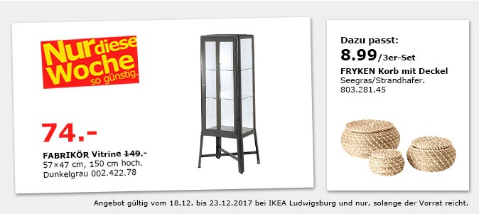 ikea fabrik r vitrine f r 74 00 50. Black Bedroom Furniture Sets. Home Design Ideas