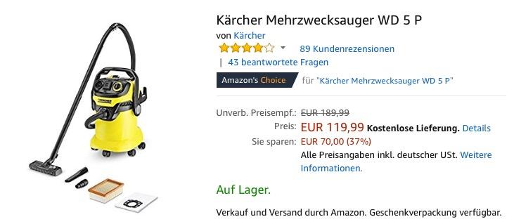 Karcher Mehrzwecksauger Wd 5 P Fur 119 99 23