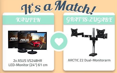 "2x ASUS VS248HR LED-Monitor (24"") 61 cm + ARCTIC Z2 Dual-Monitorarm Bundle"