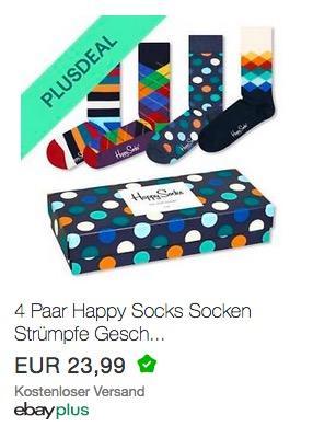 4 Paar Happy Socks Strümpfe Geschenkbox
