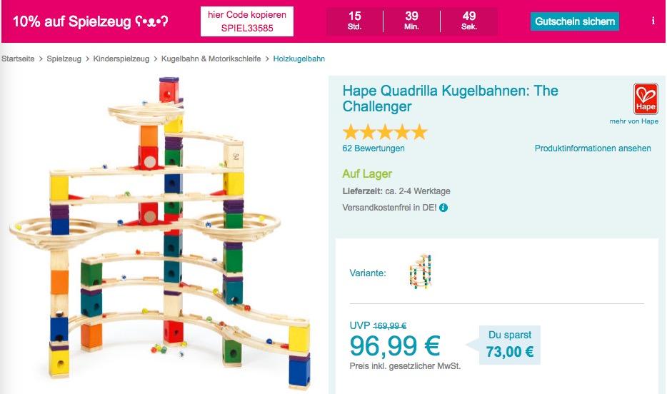 abymarkt.de - 10% Rabatt auf Spielzeug am 14.11.18: z.B. Hape Quadrilla Kugelbahnen: The Challenger - jetzt 10% billiger