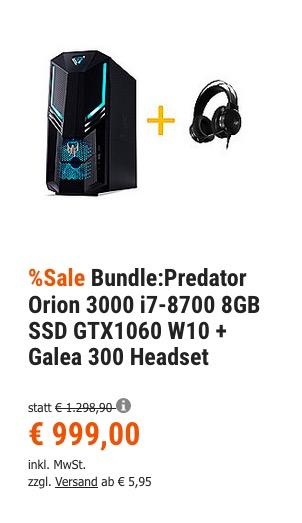 Acer Predator Orion 3000 (i7-8700, 8GB, 1,128 TB SATA+SSD, GTX1060, W10) Gaming-PC inkl. Galea 300 Gaming-Headset