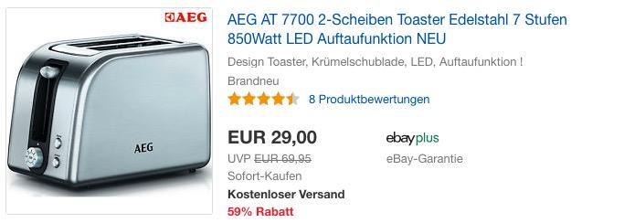 AEG AT 7700 2-Scheiben Toaster, 7 Stufen, 850 Watt
