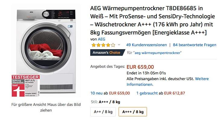 AEG LAVATHERM T8DE86685 Wärmepumpentrockner, A+++ , 8 kg