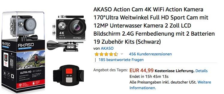 Akaso EK7000 4K Actioncam mit 170°Ultra Weitwinkellinse