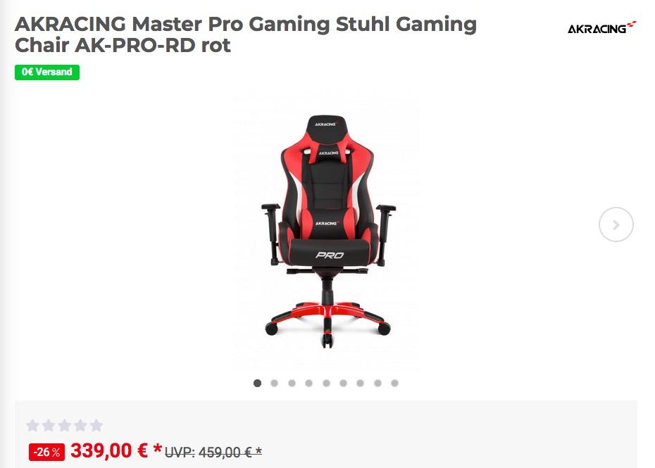 AKRACING Master Pro Gaming Stuhl in verschiedenen Farben