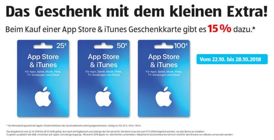 Aldi Süd: 15% Extra-Guthaben beim Kauf von iTunes-Geschenkkarte 25€, 50€ oder 100€