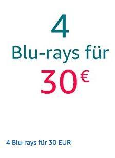 Amazon Aktion: 4 Blu-rays für 30 EUR bis 18.11.18