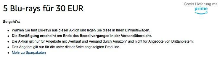 Amazon Aktion: 5 Blu-rays für 30 EUR