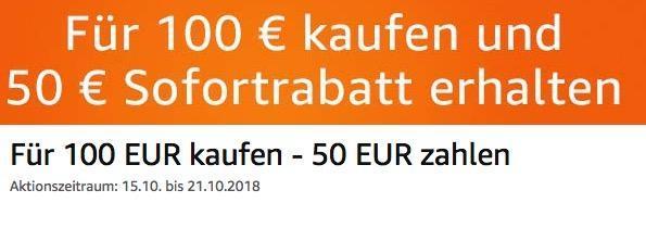 Amazon: Für 100 EUR Filme kaufen - 50 EUR sparen (bis 21 Okt. 2018)