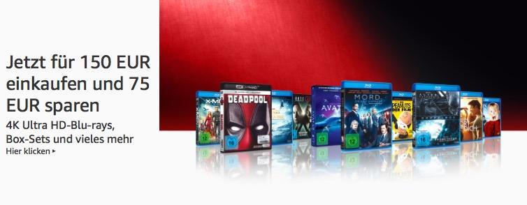 Amazon: Für 150 EUR DVD & Blu-ray kaufen - 75 EUR sparen - Aktion (bis 28 Okt. 2018)