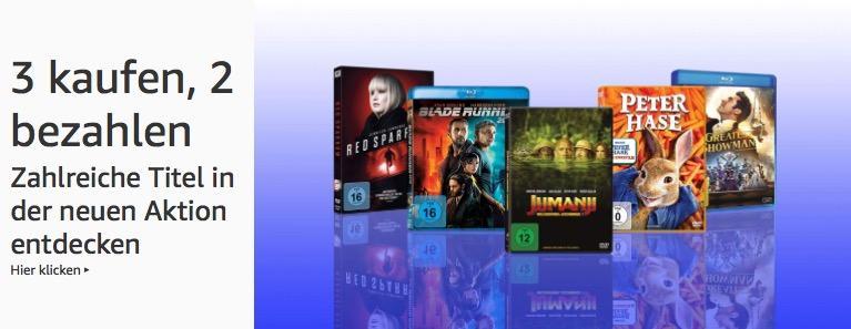 Amazon Filme und TV-Serien - Aktion (DVD & Blu-ray): 3 kaufen, 2 zahlen