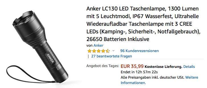 Anker LC130 LED Taschenlampe 1300 Lumen mit 5 Leuchtmodi