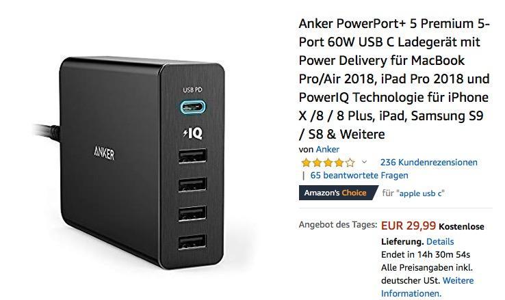 Anker PowerPort+ 5 Premium 5-Port 60W USB-C Ladegerät