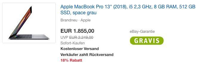 "Apple MacBook Pro 13"" (2018), i5 2,3 GHz, 8 GB RAM, 512 GB SSD, space grau"