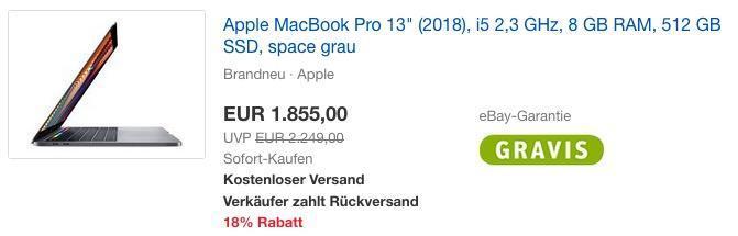 "Apple MacBook Pro 13"" (2018), i5 2,3 GHz, 8 GB RAM, 512 GB SSD, space grau"