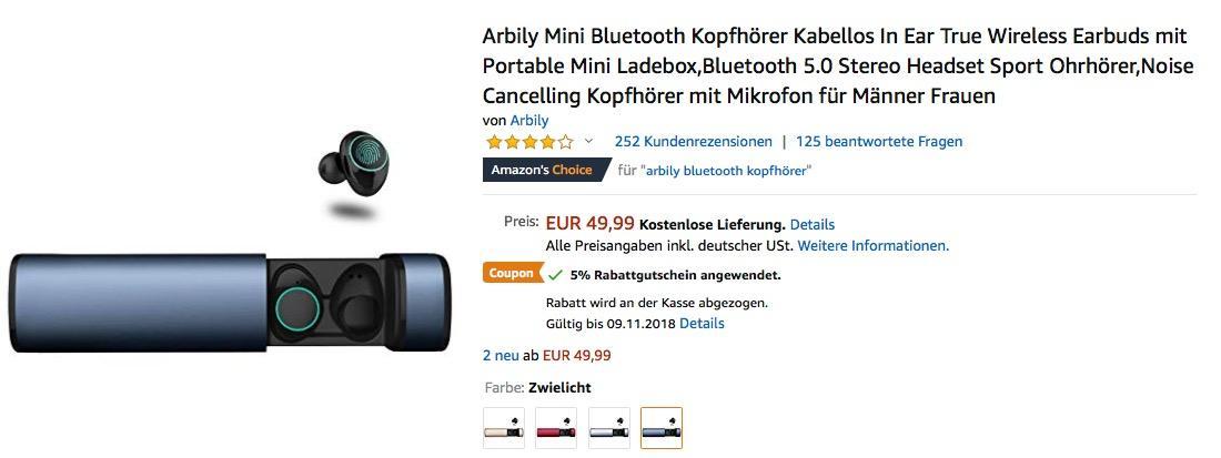 Arbily Mini Bluetooth Kopfhörer mit tragbarer Ladebox