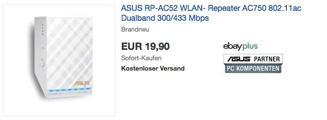 ASUS RP-AC52 WLAN-Repeater mit Geschwindigkeiten bis zu 433 Mb/s (2,4 GHz) und 300 Mb/s (5 GHz)