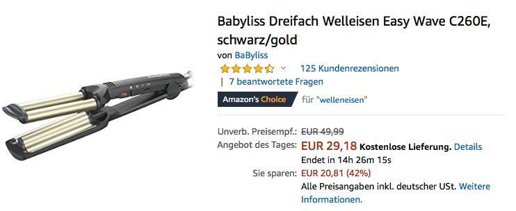 Babyliss Dreifach Welleisen Easy Wave C260E