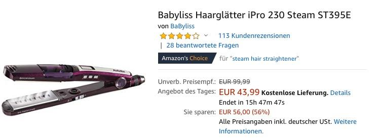 Babyliss Haarglätter iPro 230 Steam ST395E
