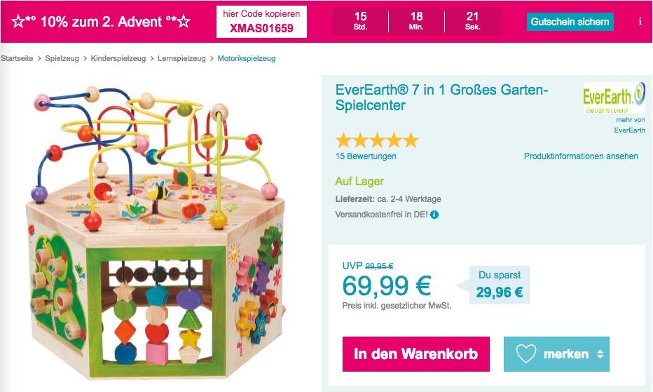 Babymarkt.de - 10% Rabatt auf fast alles am 09.12.18: z.B. EverEarth® 7 in 1 Großes Garten-Spielcenter